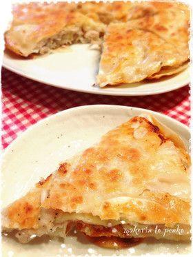 餃子の皮で豚肉チーズミルフィーユガレット