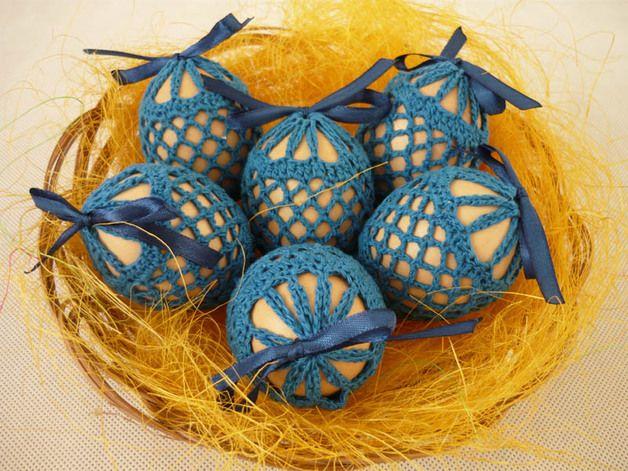 Wielkanocne szydełkowe koszulki na jajka - MariaArt - Pisanki