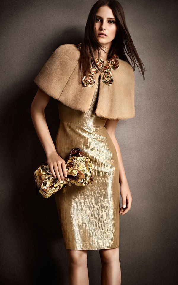 Gold flower detail capelet and The Little Crush with hand-embroidered sequins from the Chicago Exclusives collection celebrating Burberry, Michigan Avenue