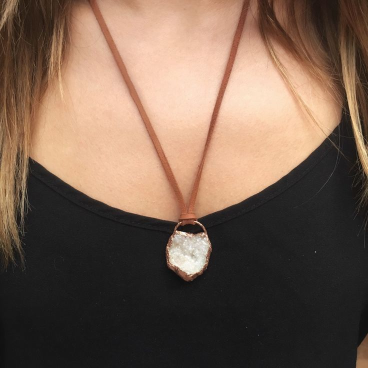 SALE * White druzy • copper necklace | electroformed crystal jewellery