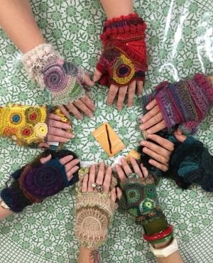 Freeform Crochet Hand Warmers by Sharyn McNab by dolly