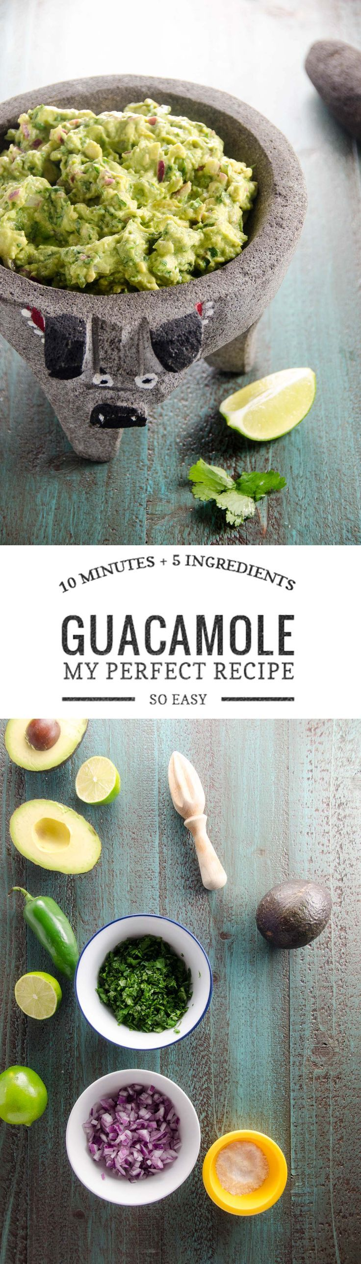 This easy recipe for perfect guacamole will disappear from your next party in no time. Just 10 minutes and 5 ingredients.  via @umamigirl