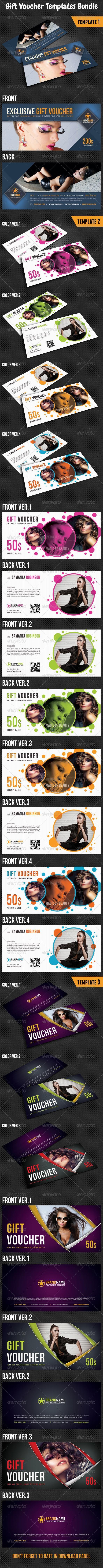 Gift Voucher Templates Bundle 03  #template #cards #print #invites