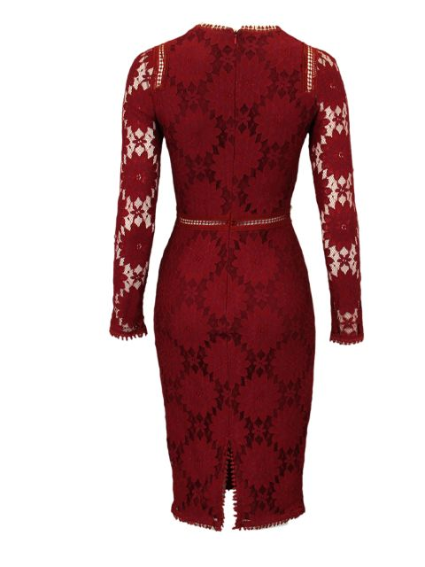 Jurk bordeaux kant - Halflange jurken - BoBo Tremelo
