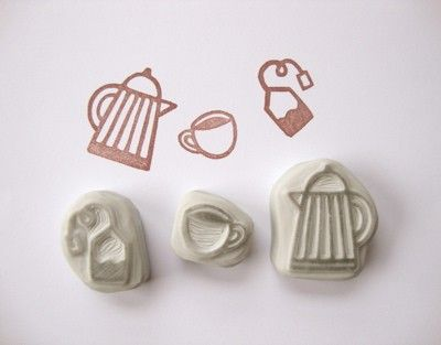 Time for Tea Hand Carved Rubber Stamp Set by eatpraycreate on Etsy, $10.50Handmade Gifts
