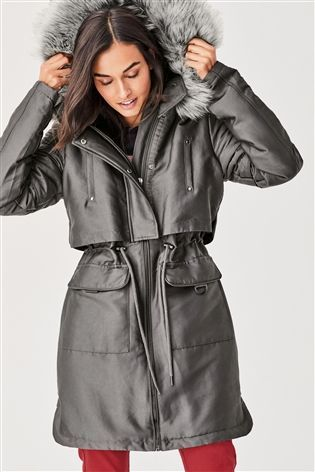 Buy Charcoal Faux Fur Hood Parka from the Next UK online shop