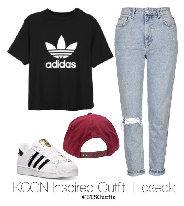 Inspired Outfit for KCON: Hoseok by btsoutfits on Polyvore featuring Topshop, adidas and Brixton