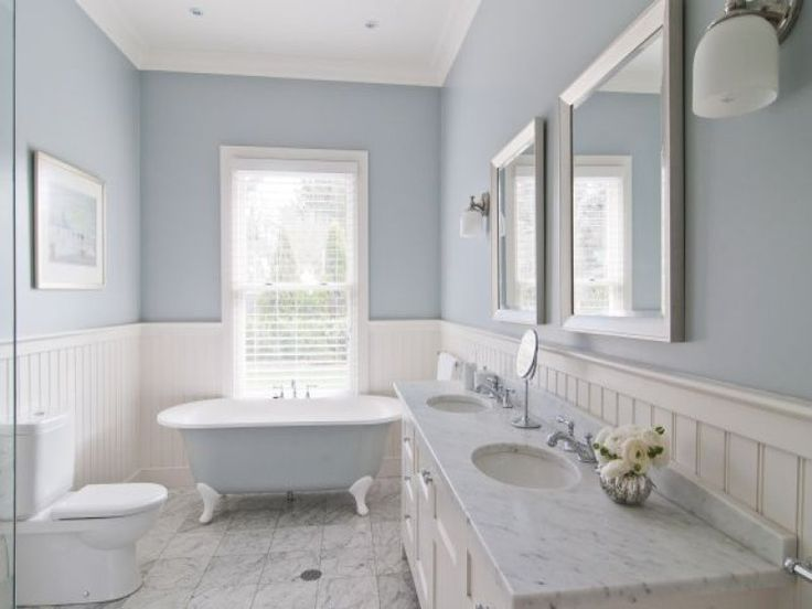 New England Bathroom Design. Custom By PNB. Porcelain Stone Look Tile,  White Beadboard Wainscot, Gray Walls, White Trim, Solid Surface Countertop U2026