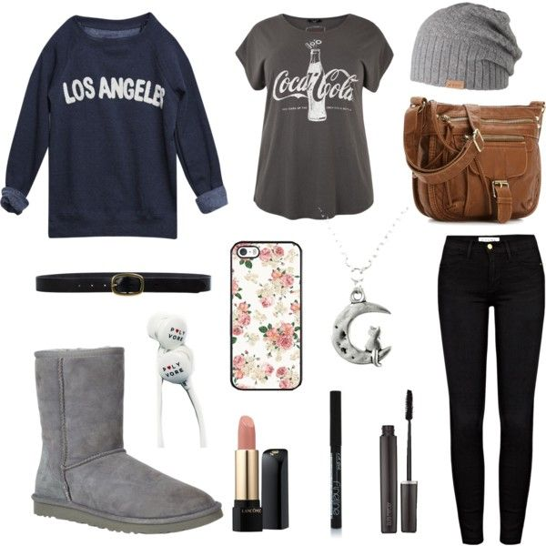 Rainy day. by lucywerta on Polyvore featuring polyvore fashion style Wet Seal Frame Denim UGG Australia Linea Pelle Barts Lancôme Laura Mercier
