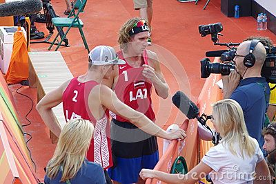 Interview with Aleksandrs Samoilovs and Janis Smedins from Latvia after Men's beach volleyball preliminary pool D competition at Rio2016 Olympics. Picture taken Aug 9, 2016
