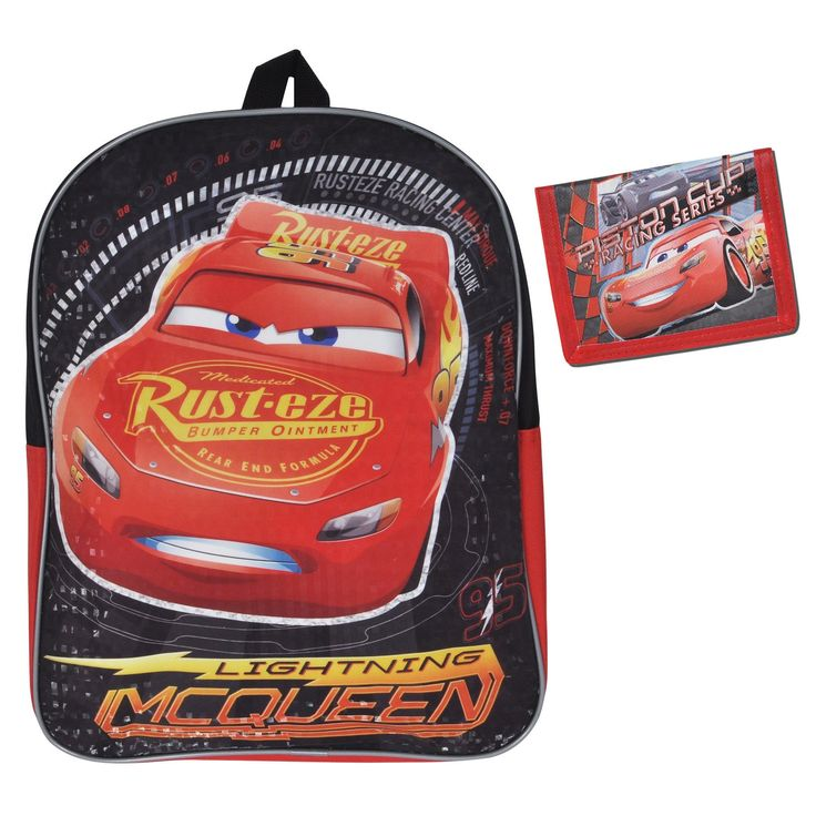"""Cars Lightning McQueen Boys Backpack 15"""" & Wallet 2 Pieces"""