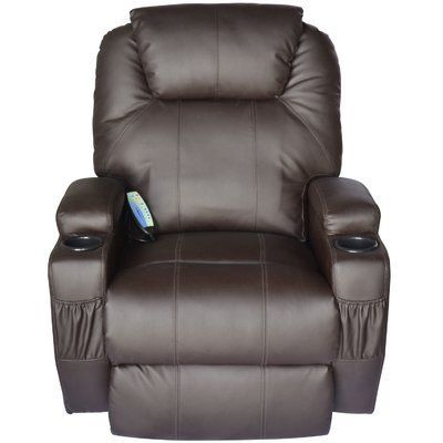 Red Barrel Studio Lexington Deluxe Heated Vibrating Vinyl Leather Massage Recliner