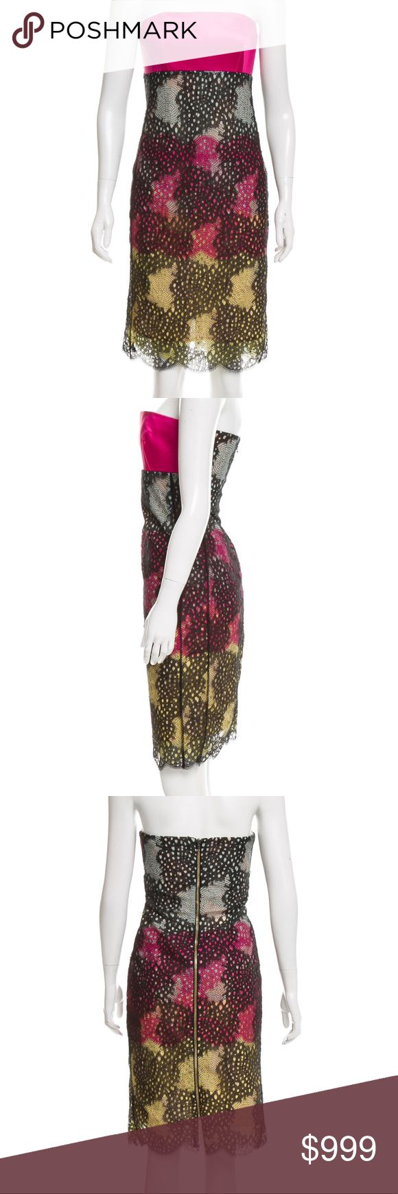 """✨ Roland Mouret Multicolored Strapless Mini Dress Ronald Mouret solid pink bodice with sheer embroidered black overlay with pink and yellow accents. Exposed center back zipper closure, fully lined.   Body: 98% Nylon 2% Spandex  Contrast: 49% Acetate  44% Polyamide  7% Elastane   Lining:  86% Polyamide  14% Elastane   34% Bust 28"""" Waist  36"""" Hips 34"""" Overall Length  New with tags Ronald Mouret Strapless Mini Dress Roland Mouret Dresses Strapless"""