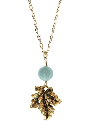 Long Amazonite Leaf Charm Necklace by Simply Summer: Jewelry Blowout on @HauteLook