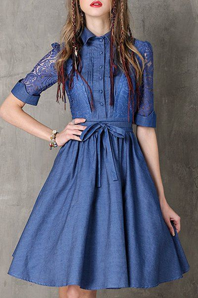 Lace Spliced Turn Down Collar Half Sleeve Denim Dress