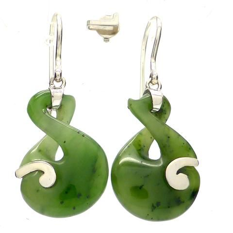 Earring Nephrite Jade Spiral | 925 Sterling Silver | Crystal Heart Melbourne Australia since 1986