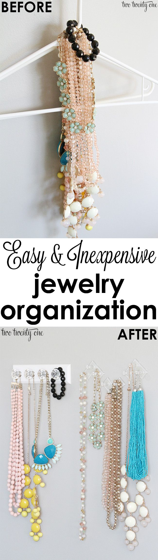 Easy and inexpensive jewelry organizer! Keep your jewelry from tangling and know where everything is at.