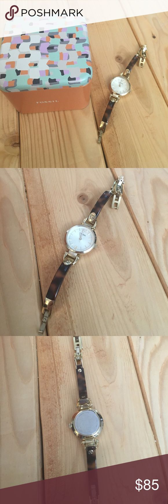 Fossil Gold Watch Gold and tortoise shell watch. Worn a few times. In like new condition with box and adjustable links attached. It still runs great. Fossil Accessories Watches