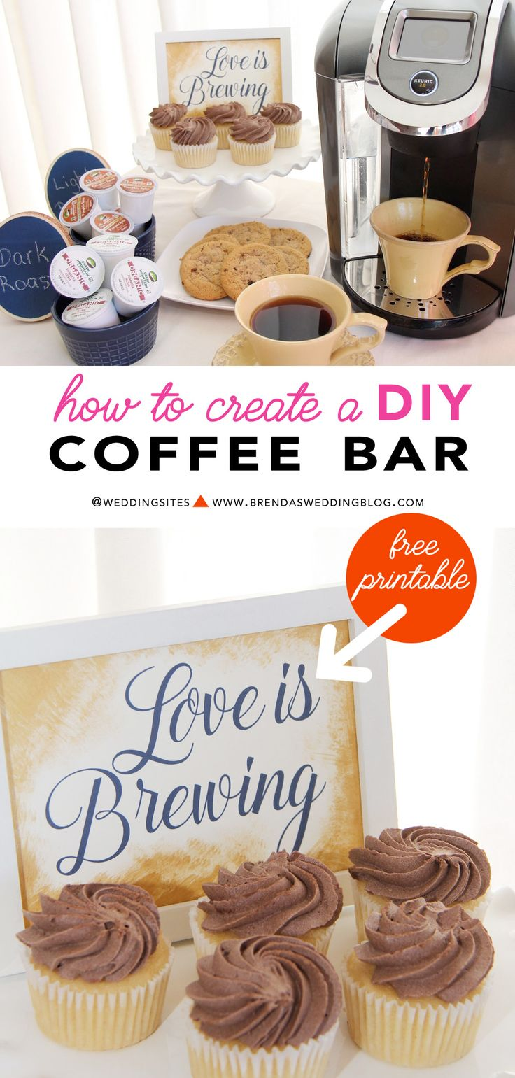 Bring warm comfort to your fall and winter weddings + events with a DIY Coffee Bar for your party guests. It's a unique and clever way to set-up a dessert and drink station to keep guests warm. Click to find out how to create this Coffee Bar and Download a Free Love is Brewing Printable. *sponsored* As seen on www.BrendasWeddingBlog.com