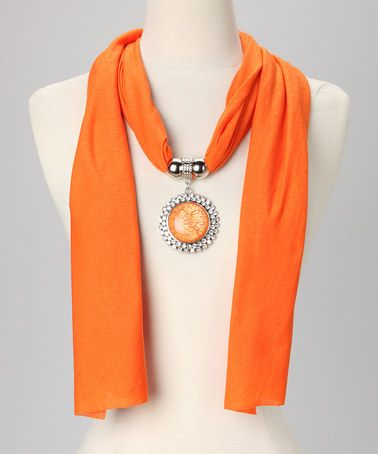 16 best pendant scarf images on pinterest scarf jewelry scarfs take a look at this orange rhinestone circle pendant scarf by suvelle on zulily today aloadofball Image collections