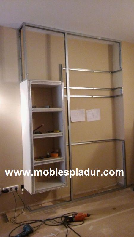mueble de pladur para instalar tv con todos sus accesorios y chimenea elctrica con la funcin