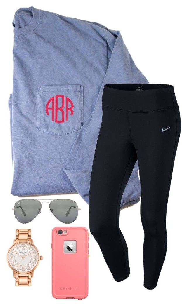 """Simple but cute "" by sassysouthernprep99 ❤ liked on Polyvore featuring NIKE, Ray-Ban, Kate Spade, women's clothing, women's fashion, women, female, woman, misses and juniors"