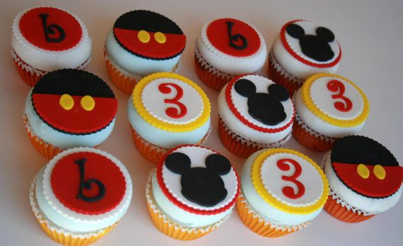 12 Mickey Mouse Inspired Edible Cupcake Toppers for by TheSugarBot