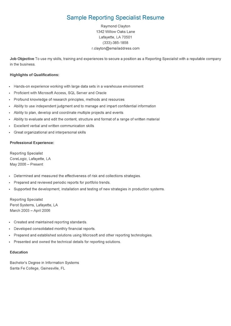 Sample Reporting Specialist Resume Sample powerpoint