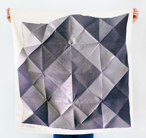Furoshiki Wrapping Cloth - LINK x Lucinda Newton-Dunn {Folded Paper} Black (Would look awesome framed!)