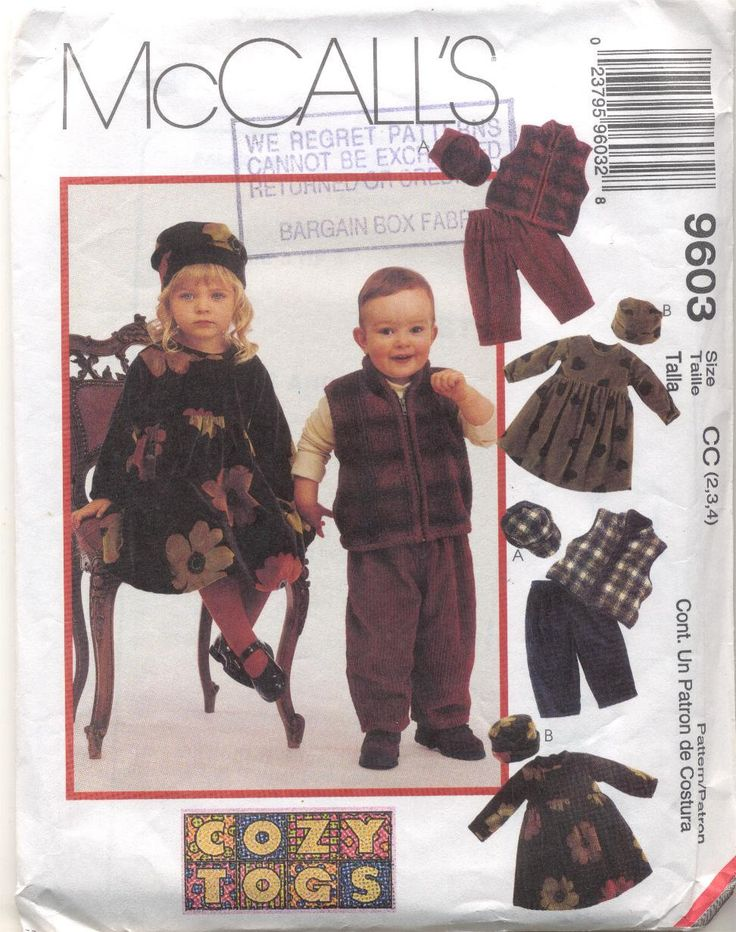 McCalls 9603Toddlers Dress, Vest, Pull-on pants and Hats Sewing pattern by KnitsanStitches on Etsy