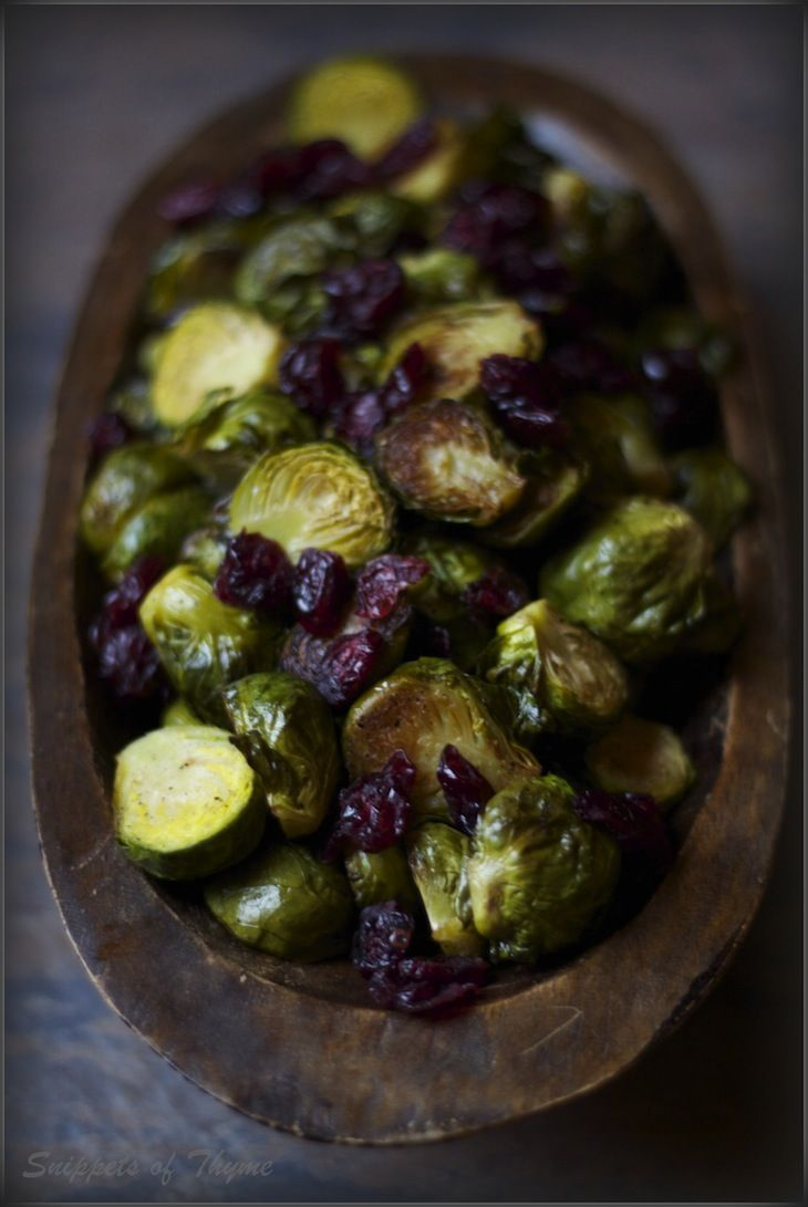 roasted brussel sprouts with cranberries and balsamic vinegar..simply beautiful!