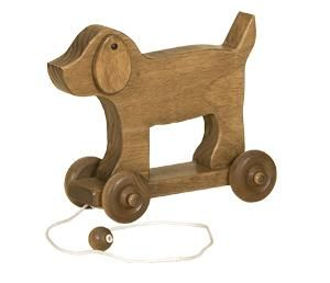 Handcrafted Wooden Dog Pull Toy This handmade wooden toy will quickly become your child's favorite.