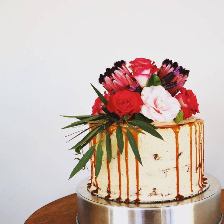 Semi-naked Wanaka wedding cake with caramel drips