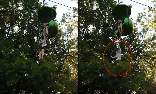 NEW YORK... Girl plunges 25ft from Sky Ride at Six Flags in New York...group below catches her | Daily Mail Online