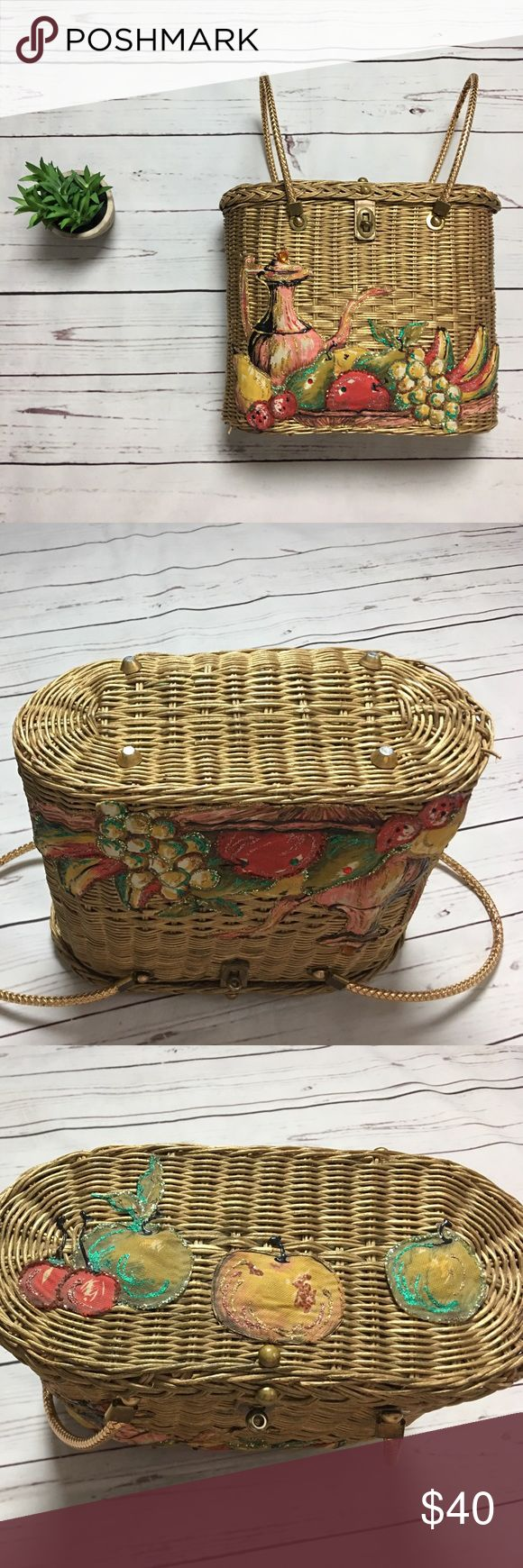 """Vintage 60's Midas Miami Fruit Wicker Basket Purse Inside has a few tiny stains and a small hole. Also, the bottom of purse is not leveled, meaning there is a bend so when laying the purse upright it tilts (See pictures). Measurements: Length-10"""" and width-12"""" Midas of Miami Bags Totes"""