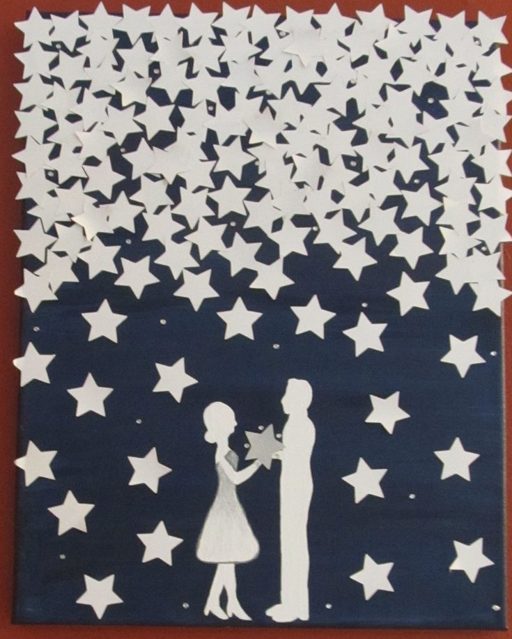 Handmade Unique Wedding Guestbook  Starry Night Canvas. $65.00, via Etsy. (paint something like this on a campus and have guests sign the stars then glue them on)