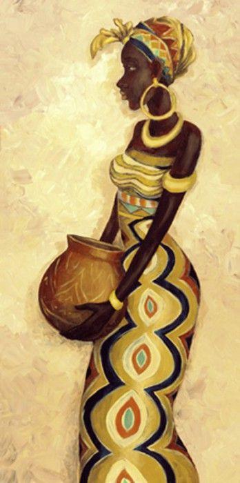 A. S.: African Femme IV - Original auf Leinwand 80 x 40 cm