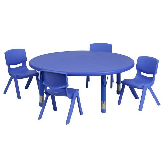 45 Round Adjustable Blue Plastic Activity Table Set With 4 School Stack Chairs 10 5 Activity Table Kids Table And Chairs Kids Activity Table