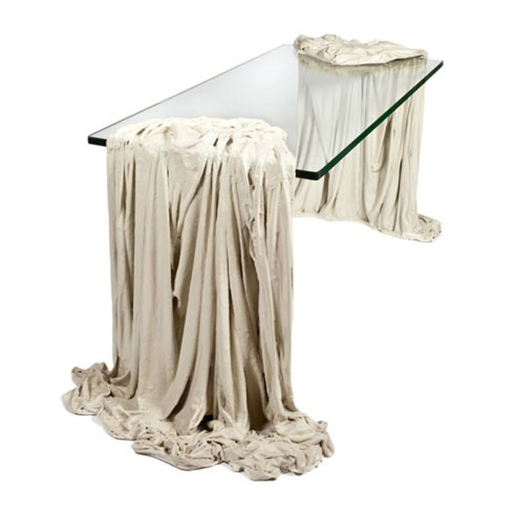 'Magritte' Coffee Table  French  1970s  Very unusual 1970s surreal French Coffee Table with trompe l'oeil, flowing, white, drape sides in gessoed cast resin.    Provenance: Private Collection, Argentina