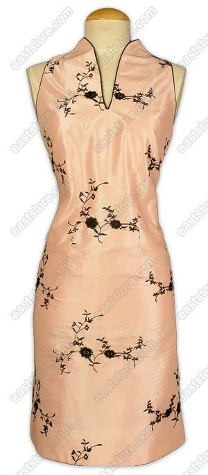 Chinese stand style V-neck collar.  Sleeveless.  Invisible back center zipper.  Floral embroidery.  Fully lined.  Knee length.