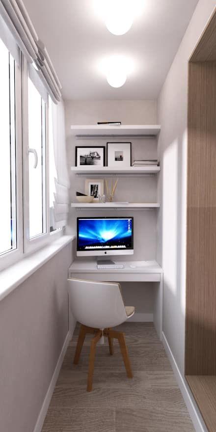 Белый лофт: Балконы, веранды и террасы в . Автор – QUADRUM STUDIO