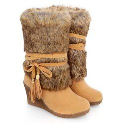 Stunning Women's Mid-Calf Boots With Faux Fur and Tassels Design