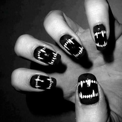 Themes: gothic nails, gothic aesthetics, gothic lifestyle, goth philosophy, jaw teeth nail tatoo