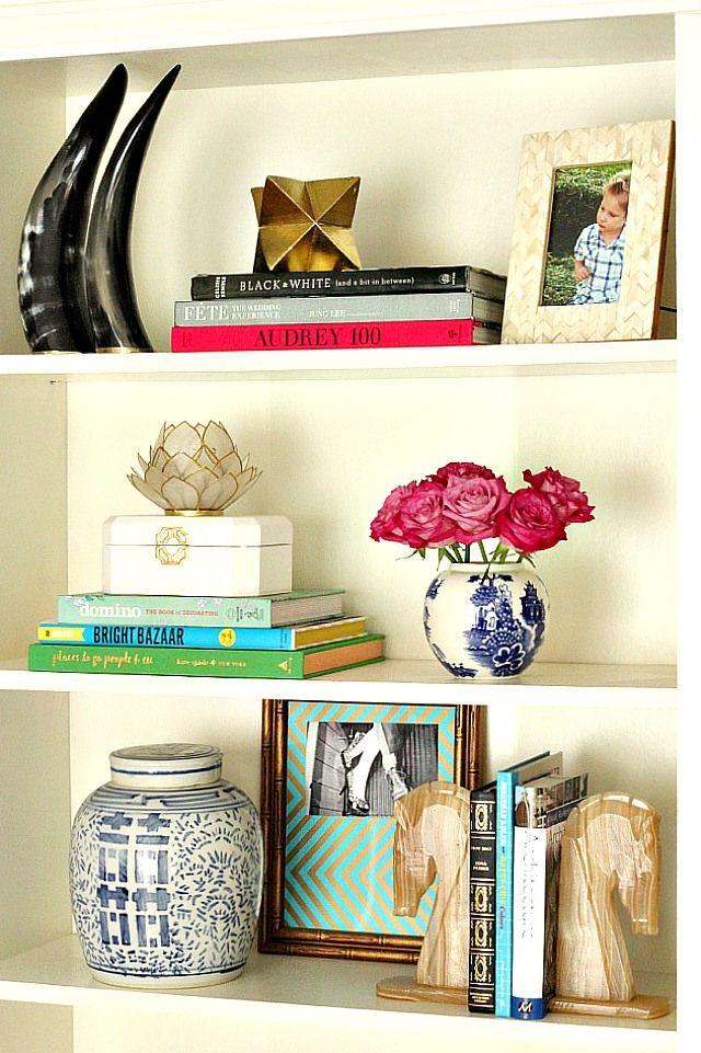 Bookcase styling via Kristin Cadwallader www.bliss-athome.com