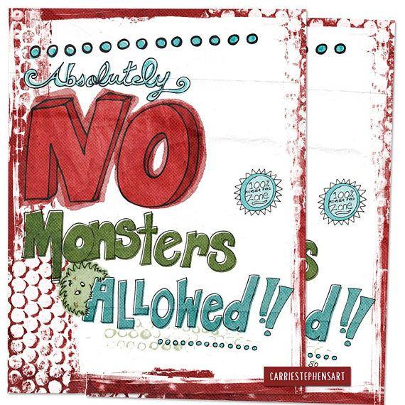 No Monsters Allowed - Digital Art Print Kids #kidswallart #wallart #printableart #printable #mom #etsy
