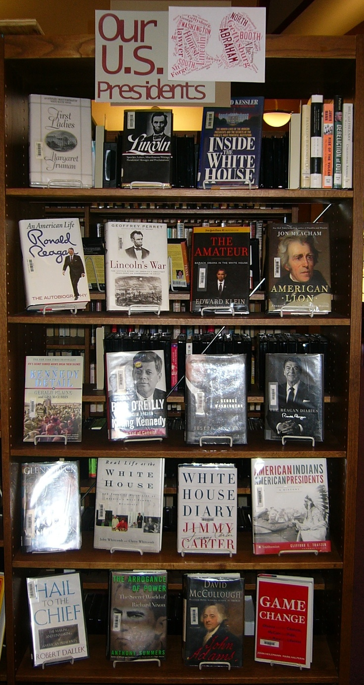 """February is a great month to read up on our U.S. Presidents! Some of the books we have available for checkout include: Bill O'Reilly & Martin Dugard's """"Killing Kennedy: The End of Camelot"""", """"His Excellency: George Washington"""" by Joseph J. Ellis, """"Lincoln's War"""" by Geoffrey Perret, & """"American Lion: Andrew Jackson in the White House"""" by Jon Meacham (at Central City Public Library in Central City, Nebraska). www.tagxedo.com/ was used to make the """"Lincoln/Washington"""" part of the display sign."""