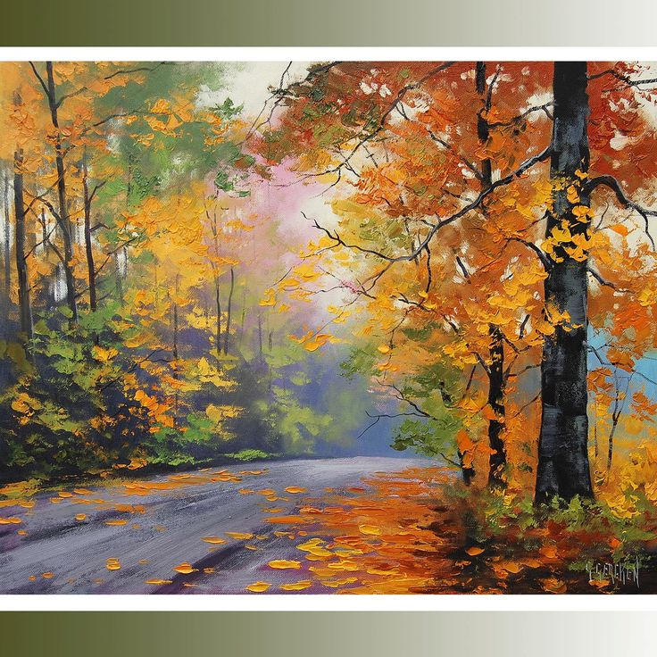 large autumn oil painting commissioned fall trees art road trail artwork Graham gercken. $249.00, via Etsy.
