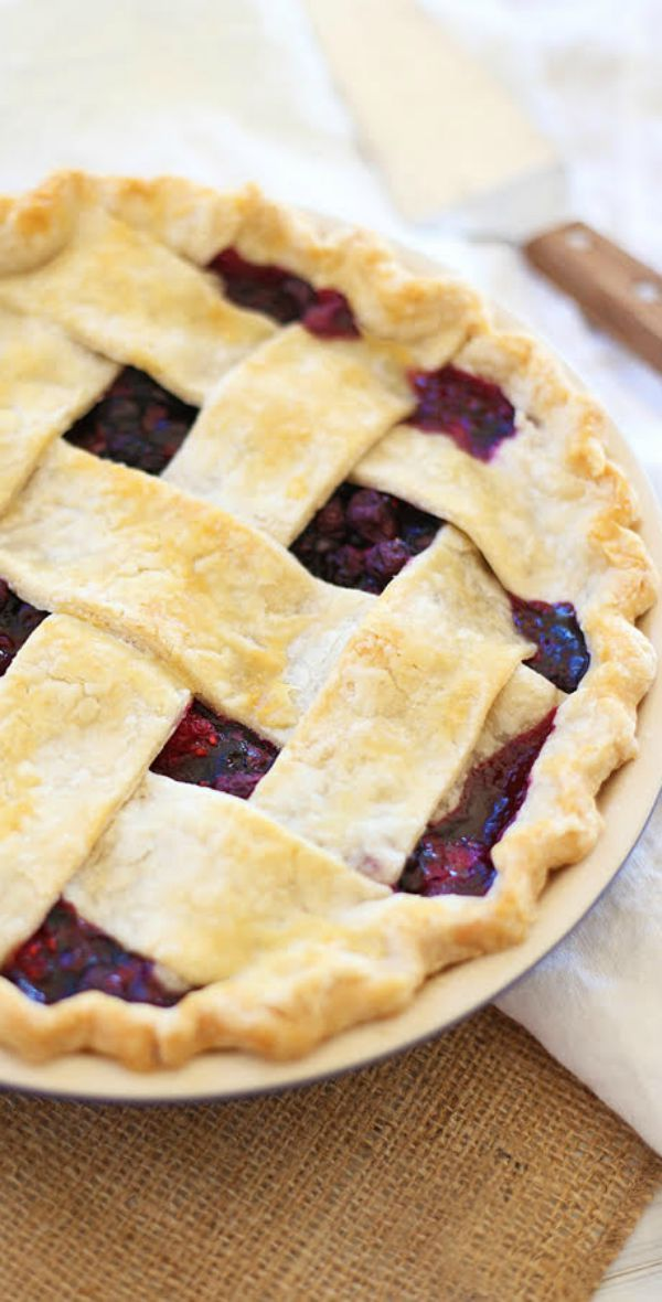 Triple Berry Pie – flaky and crumbly pie with sweet and delicious triple berry filling. This recipe is easy, fail proof and amazing! | rasamalaysia.com
