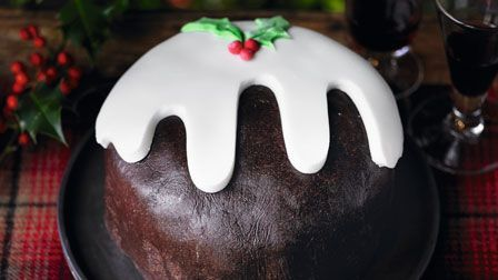 Decorated to look like a pudding, flavoured with amaretto and covered in a surprisingly easy homemade chocolate marzipan, Martha's amaretto cake is a great alternative to a traditional Christmas cake.