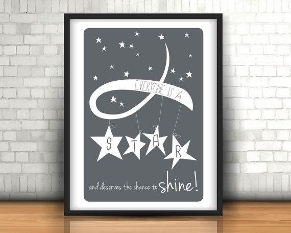 Deserves to Shine ~ Moon Poster ~ Solar System Print ~ Kids Space Art ~ Playroom Stars ~ Monochrome Nursery ~ Nursery Art ~ Wall Art